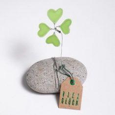Glücksklee Stein - Viel Glück, grün