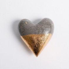 Gold und Silber Herz - Spitze Gold