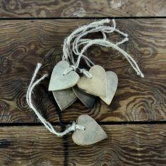 Herz-Holzanhänger, natur, 6er-Set