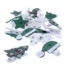 Holz-Adventsclips, Weihnachtsmotive grün/weiß