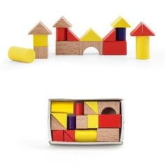 Holzbauklötze in Streichholzbox