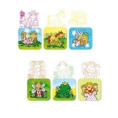 Holzstempel mit Stempelkissen - Mädchen