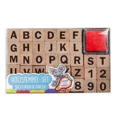 Holzstempel-Set Buchstaben und Zahlen - Volle Kraft voraus, 38-teilig