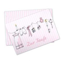 Klappkarte - Zur Taufe, rosa