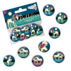 Mini-Buttons - Einhorn Lunabelle, 8er-Set