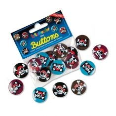 Mini-Buttons - Piraten Jolly Roger, 8er-Set