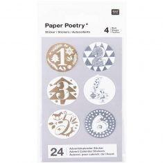 Adventskalender-Sticker, gold/silber, 24 Stück