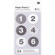 Adventskalender-Sticker, schwarz/weiß, 24 Stück