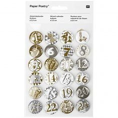 Adventskalender-Zahlenbuttons, gold-silber 2,5 cm 24 Stück