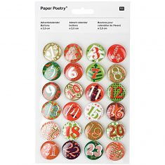 Adventskalender-Zahlenbuttons, grün-rot 2,5 cm 24 Stück