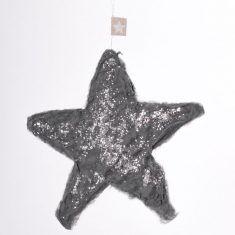 Papierstern - Klein, grau/silber