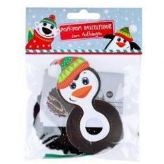 Pom-Pom Bastelfigur-Anhänger - Pinguin