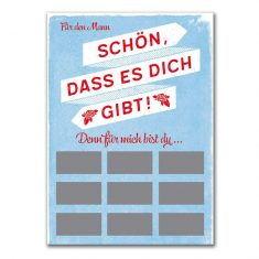 Rubbel-Postkarte - Schön dass es Dich gibt! Für den Mann