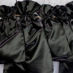 Satinbeutel schwarz, 6er-Set