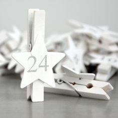Sternen-Klammer-Set, weiß/silber