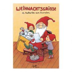 Weihnachtsgrüße - 12 Postkarten zum Ausmalen