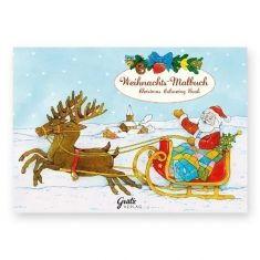 Weihnachtsmalbuch - Weihnachtsmann auf Schlitten