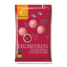 Weihnachtssnack - Erdbeeren in zweierlei Schokolade, Bio