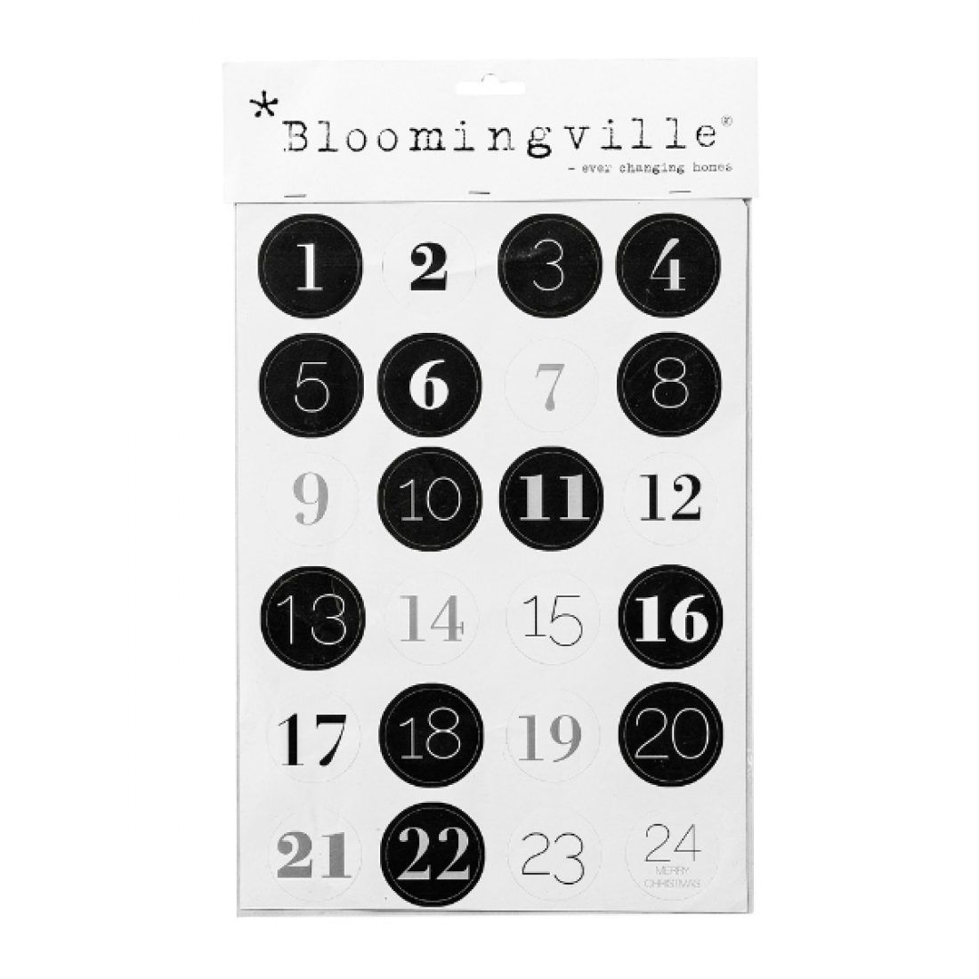 Adventskalenderzahlen Sticker Bloomingville 1 24